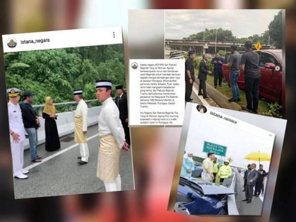 Yang di-Pertuan Agong, Al-Sultan Abdullah Ri'ayatuddin Al-Mustafa Billah Shah beberapa kali membantu mangsa kem4lang4n apabila kenderaan rasmi membawa baginda melalui lokasi nahas jalan raya.